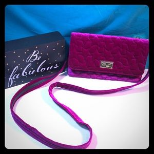 Betsey Johnson Fushia Velvet Crossbody